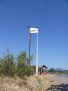 """When we first drove past, I didn't  think this could be a sign for a """"well-marked"""" vineyard."""