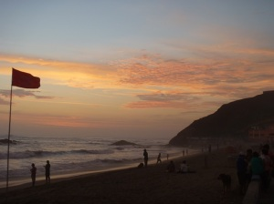 Sunset's afterglow on the beach in Barranca, Holy Thursday,  2015.
