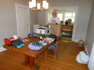 Jonathan packed the dining room and kitchen.