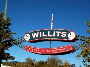 "Arch at entrance to Willets, CA, ""Gateway to the Redwoods"""