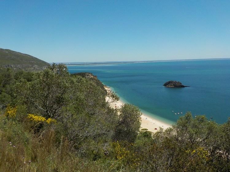 Praia do Creiro on a sunny day from above.