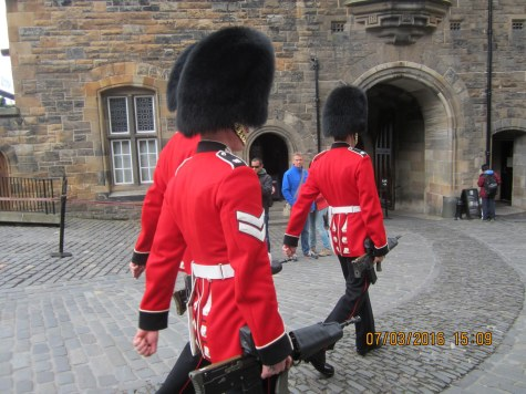 The guards change with a bit of the pomp you see at Buckingham palace. They also rotate services. Today was Beefeaters. Another day were men in green with flat caps.