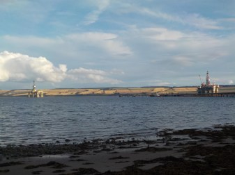 Cromarty Firth from the yard. Note the oil rigs.