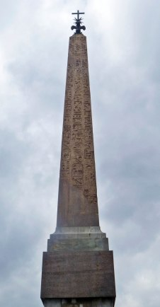 In Piazza Trinita dei Monti at the top of the Spanish Steps, this obelisk was probably brought to Rome in 2nd or 3rd c. AD. Stood in the Gardens of Sallust. It was moved to present location in 1788 by Pope Pius VI.