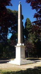 The obelisk at the Villa Celimontana is believed to have originally been set at the Temple of Isis in Rome. It formed a pair with the obelisk in Piazza Rotonda in front of the Pantheon. It is now a bit isolated, but in a very peaceful park setting compared to the traffic circles and busy piazzas where most of the others are located.