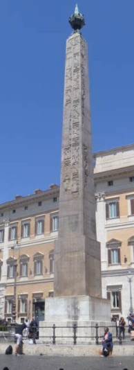 The obelisk in Piazza Montecitorio was first put up in Heliopolis, Egypt by pharaoh Psamtik II (c. 500 BC). Augustus brought it to Rome to celebrate his victory over Cleopatra and set it up in the Campus Martius, where it served as the gnomon of an immense sundial. In 1748 it was discovere buried in an open space near the Palazzo dei Montecitorio and was erected in its present site in 1792. Today the Palazzo de Montecitorio is the seat of the Italian parliament.