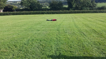 Lyra rolling down the hill at New Grange. It was that kind of day.